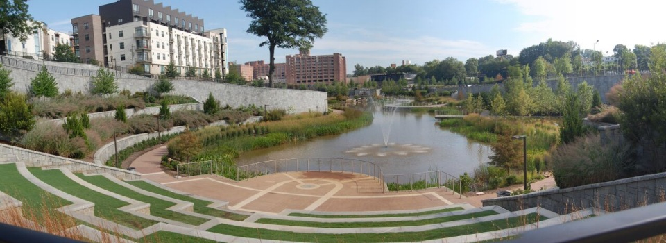 The central amenity of the park is a large stormwater retention pond.